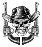 Cowboy Hat Skull en Pistolen stock illustratie