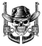 Cowboy Hat Skull et pistolets illustration stock