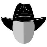 Cowboy hat var 3. Vector illustration mafiosi or cowboy head silhouette in hat Stock Photos