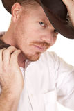 Cowboy hat vest in hand look smile Stock Photography