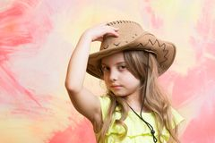 Cowboy hat on wearing american outfit Stock Photo
