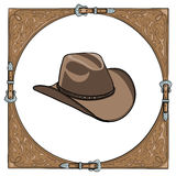 Cowboy hat in the western leather frame on white background. Royalty Free Stock Photos