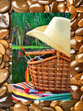 Cowboy hat, wicker basket,  spool andfishing tackle in the natur Royalty Free Stock Image