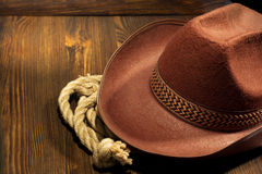 Cowboy hat on wood Stock Photography