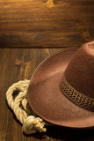 Cowboy hat on wood Royalty Free Stock Images
