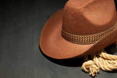 Cowboy hat on wood Royalty Free Stock Photo