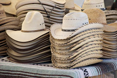Cowboy hats. For sale at a country carnival stock photos