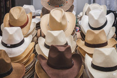 Cowboy hats on display at Rocking the Park event in Milan, Italy Royalty Free Stock Photography