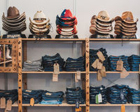 Cowboy hats and pants on display at Rocking the Park event in Milan, Italy Royalty Free Stock Photography