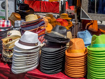 Cowboy hats for sale. CALGARY, CANADA - JULY 13: Cowboy hats for sale on July 13, 2014 in Calgary Alberta Canada. Hats are for sale at vendors located at the Stock Photography