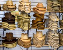 Cowboy hats for sale at Willie Nelson Museum. NASHVILLE, TENNESSEE, USA - MARCH 20, 2018: Cowboy hats for sale at Willie Nelson and Friends museum and general Stock Photo