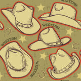 Cowboy hats seamless pattern for western backgroun Royalty Free Stock Image