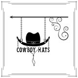 Cowboy hats single signboard. Black signboard of fashionable silhouette of cowboy hat vector illustration