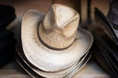 Cowboy Hats on Shelf Royalty Free Stock Image