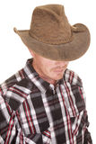 Cowboy head close hat over eyes. A close up of a cowboy with his face hidden royalty free stock images