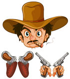 Cowboy head and two pairs of guns. Illustration Stock Photos