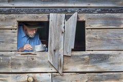 Cowboy het koken Stock Foto
