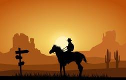 Cowboy in het verre westen Stock Foto