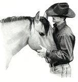 The Cowboy and His Horse. A pencil drawing of a cowboy (horse trainer) gently holding the head of a horse he is working with Stock Photos