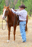 Cowboy. With his horse in the field stock photo