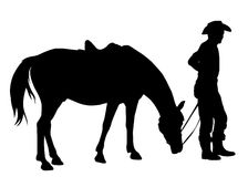 Cowboy with his horse. Silhouette stock illustration