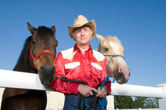 Cowboy With His Horses - Horizontal Royalty Free Stock Image