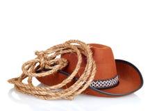 cowboy hoed met een lasso Royalty-vrije Stock Afbeelding