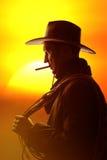 Cowboy in hoedensilhouet Stock Fotografie