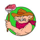 Cowboy Hog Holding Barbecue Steak Drawing Color Stock Photography