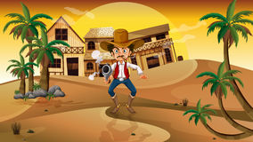 A cowboy holding a gun with a cigarette. Illustration of a cowboy holding a gun with a cigarette Royalty Free Stock Image
