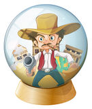 A cowboy holding a gun inside the crystal ball. Illustration of a cowboy holding a gun inside the crystal ball on a white background Royalty Free Stock Image