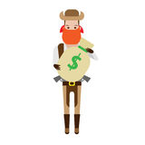 Cowboy holds a bag of money Stock Photos