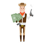 Cowboy holds money and the gun Royalty Free Stock Images