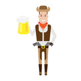 Cowboy holds pint Royalty Free Stock Image