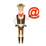 Cowboy holds a sign email Royalty Free Stock Photography