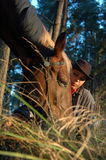 Cowboy with a horse. Horse with a cow-boy, close-up Royalty Free Stock Photos
