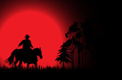 Cowboy an a horse 3. Cowboy on a horse over sunset stock illustration