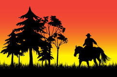 Cowboy on a horse. Over sunset stock illustration