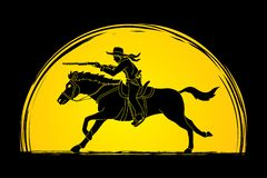 Cowboy on horse, aiming rifle graphic vector. Cowboy on horse, aiming rifle illustration graphic vector Royalty Free Stock Photo