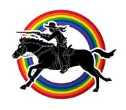 Cowboy on horse, aiming rifle graphic vector. Cowboy on horse, aiming rifle illustration graphic vector Stock Photo
