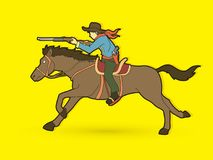 Cowboy on horse, aiming rifle graphic vector. Cowboy on horse, aiming rifle illustration graphic vector Stock Image