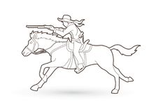 Cowboy on horse, aiming rifle outline graphic vector. Cowboy on horse, aiming rifle outline illustration graphic vector Royalty Free Stock Photo