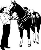 Cowboy and horse Stock Images