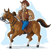 Cowboy on Horse. Cartoon of a proud canadian mountie Royalty Free Stock Photos