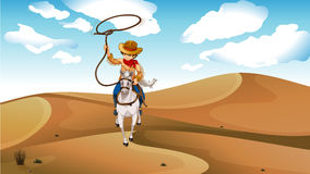 A cowboy with a horse at the desert Stock Photo