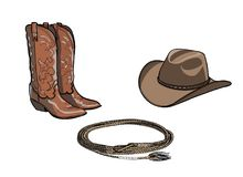 Cowboy horse equine riding tack tool. Western boot, hat, lasso rope. Stock Photography