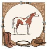 Cowboy horse equine riding tack tool in the western leather belt frame. Western boot, hat, lasso rope and pinto or piebald horse. Hand drawing  cartoon Royalty Free Stock Photo