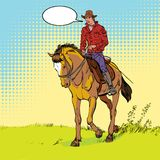 Cowboy on horse. Horsemanship. Cowboy on horse ride vintage vector poster. The world of the wild West. Cowboy on horse. Horsemanship. The world of the wild West Stock Image