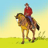 Cowboy on horse. Horsemanship. Cowboy on horse ride vintage vector poster. The world of the wild West. Cowboy on horse. Horsemanship. The world of the wild West Stock Images