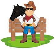 Cowboy with horse on ranch. Happy cowboy with his black horse stand on ranch Royalty Free Stock Photos